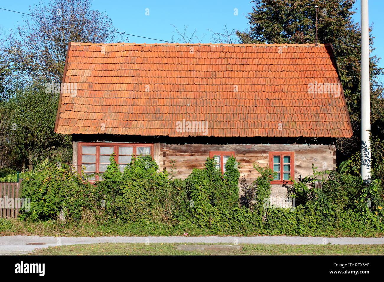 Molto piccolo di legno abbandonato la casa familiare con grandi finestre parzialmente ricoperta da piante cingolato e la fitta vegetazione del giardino Immagini Stock