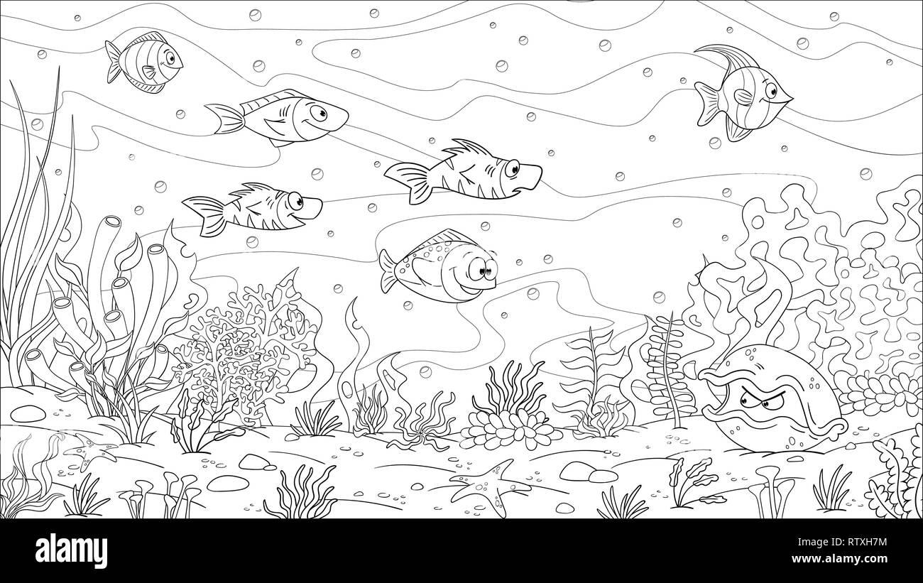 Libro Da Colorare Paesaggio Sottomarino Disegnare A Mano