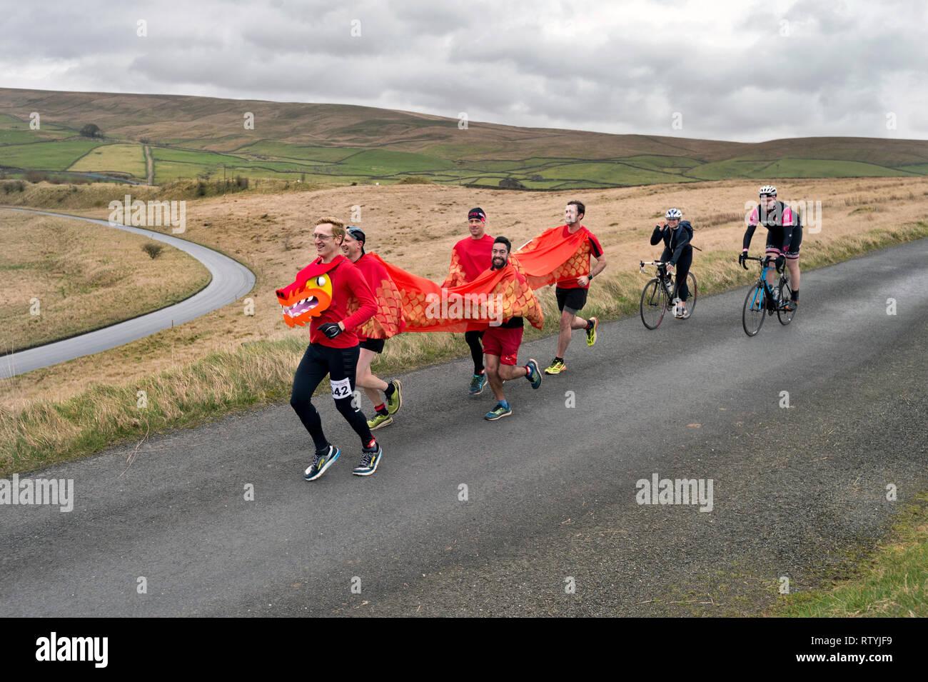 Settle, North Yorkshire, Regno Unito. 03 marzo, 2019. Settle mezza maratona. Pass guide ponte Helwith nel Yorkshire Dales National Park. Credito: John Bentley/Alamy Live News Immagini Stock