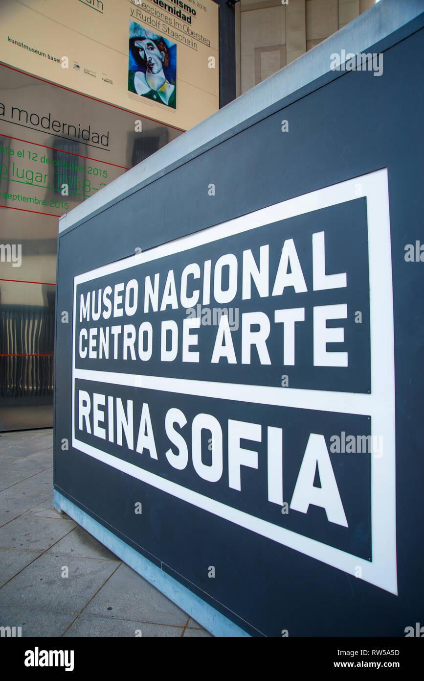 Entrata. Centro de Arte Reina Sofia Museo Nazionale, Madrid, Spagna. Immagini Stock