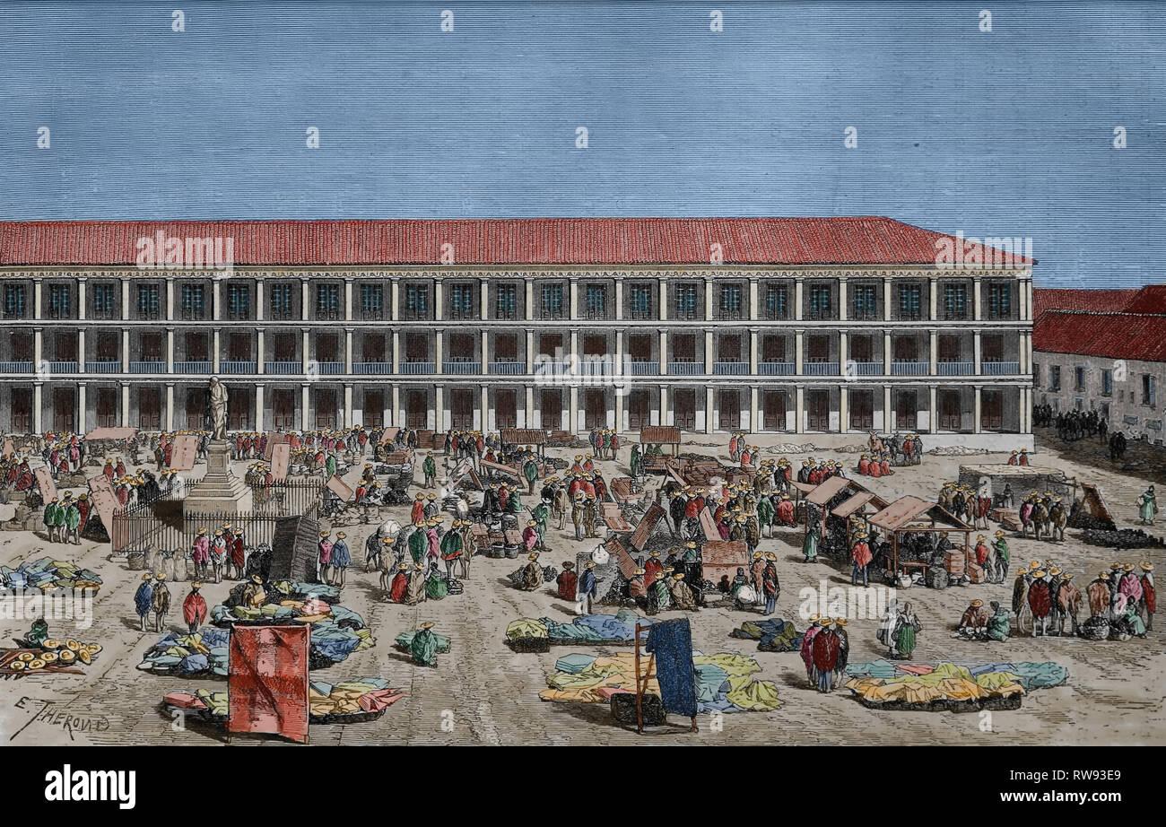America. Columbia. Bogotà. La casa della città. Incisione, XIX c.American equinoziali da Ed. Andre. Immagini Stock