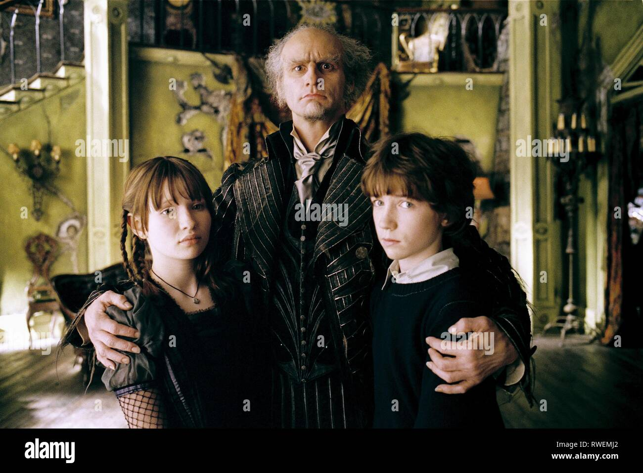 BROWNING,CARREY,AIKEN, Lemony Snicket una serie di sfortunati eventi, 2004 Immagini Stock
