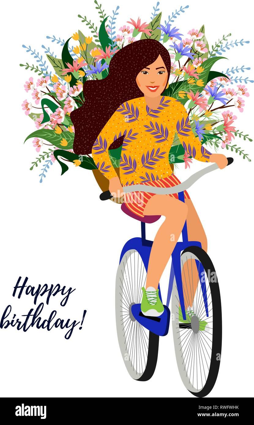 Buon Compleanno Isolato Carina Ragazza Sorridente Su Una Bicicletta
