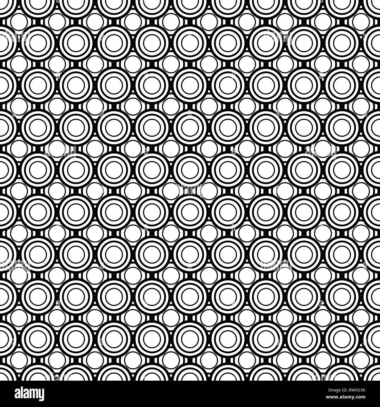 645456ec52 Cerchi astratto, geometriche seamless pattern, round piastrella, in bianco e  nero di illustrazione