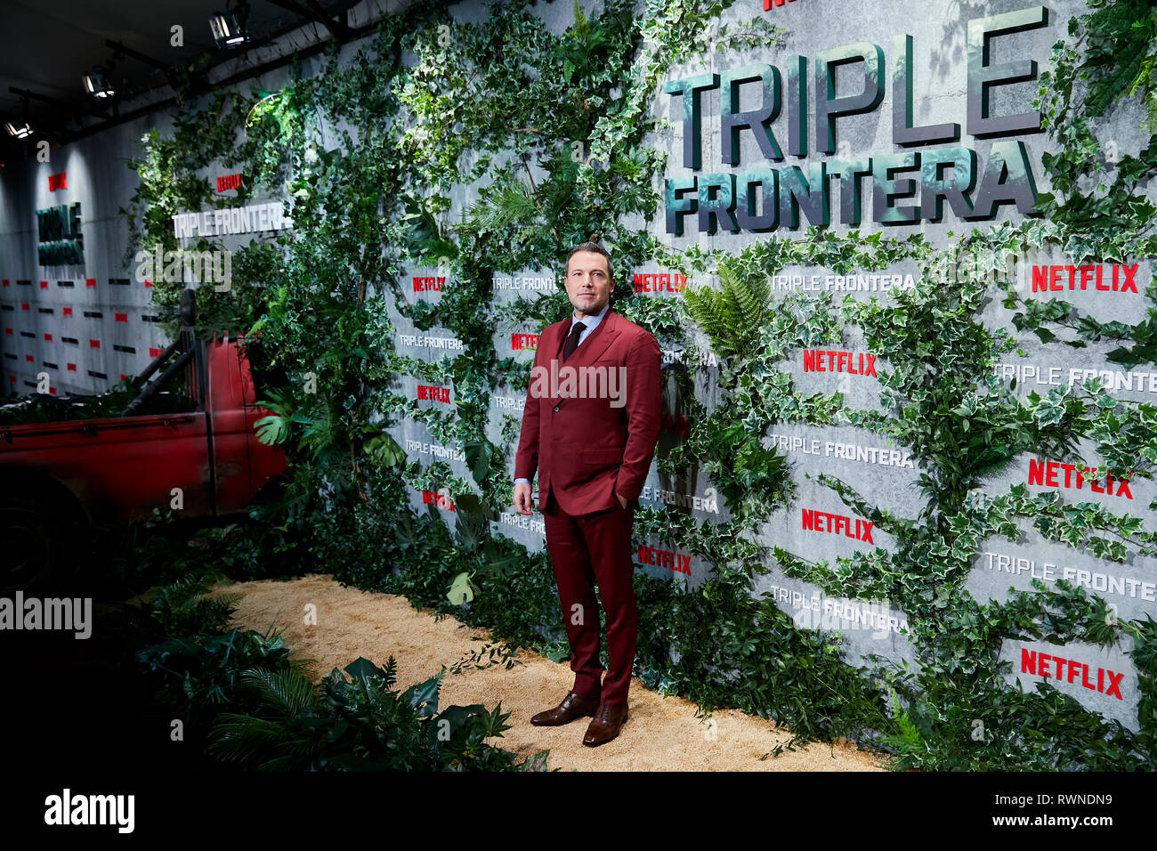 Ben Affleck assiste la Triple Frontera premiere a Callao luci della città di Madrid. Immagini Stock