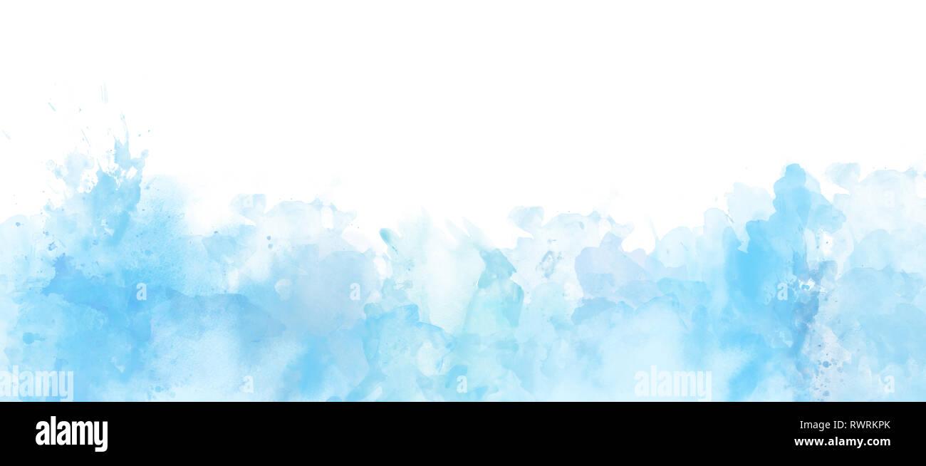 Acquerello Border Isolato Su Bianco E Azzurro Colori Di Sfondo
