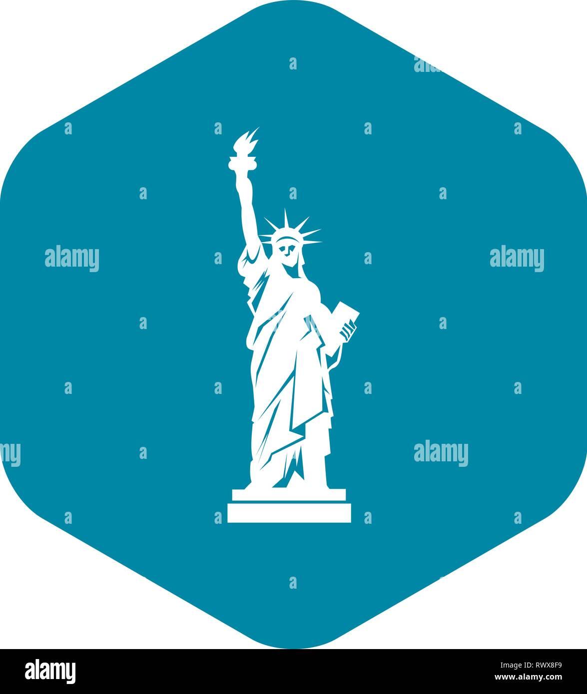 La statua della libertà, l'icona di stile semplice Immagini Stock