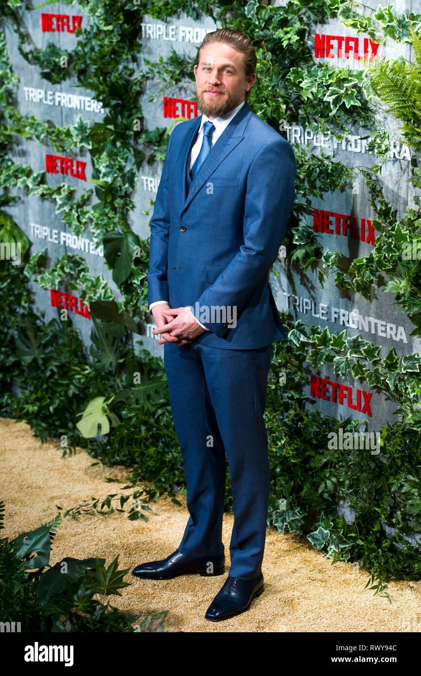 Charlie Hunnam alla premiere del film di Netflix 'Triple frontera / Triple frontiera' Cine a Callao. Madrid, 06.03.2019 | Utilizzo di tutto il mondo Immagini Stock