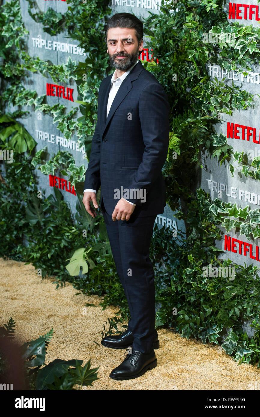 Oscar Isaac alla premiere del film di Netflix 'Triple frontera / Triple frontiera' Cine a Callao. Madrid, 06.03.2019 | Utilizzo di tutto il mondo Immagini Stock