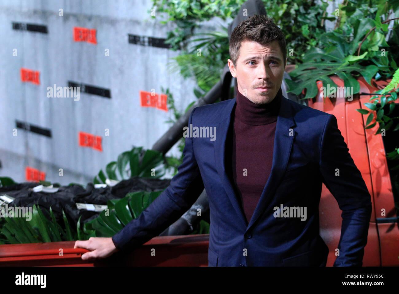 Garrett Hedlund alla premiere del film di Netflix 'Triple frontera / Triple frontiera' Cine a Callao. Madrid, 06.03.2019 | Utilizzo di tutto il mondo Immagini Stock