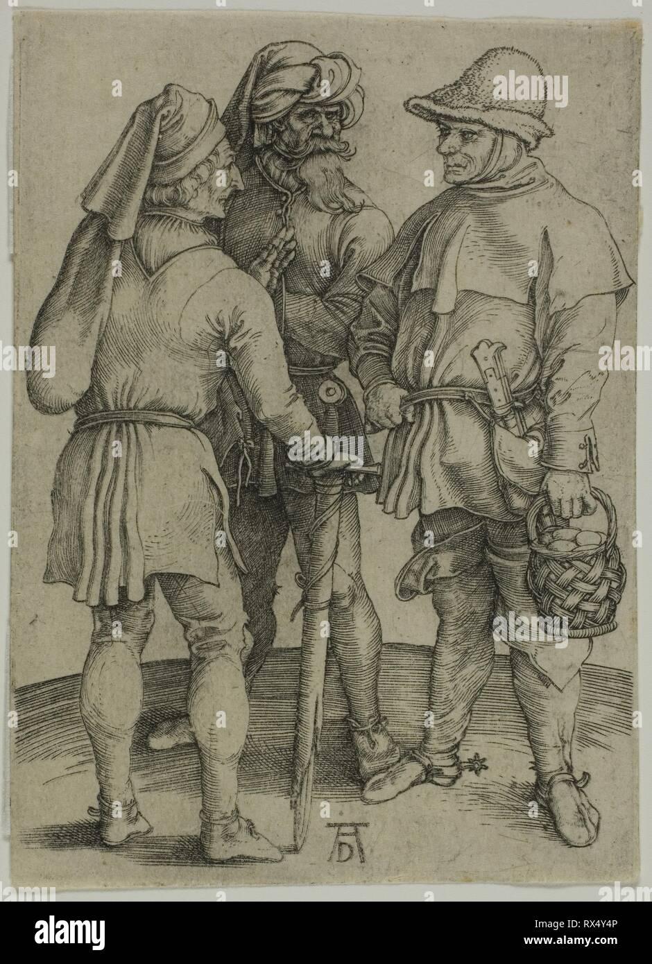 Tre contadini nella conversazione. Albrecht Dürer; Tedesco, 1471-1528. Data: 1492-1502. Dimensioni: 108 x 78 mm (l'immagine/foglio). Incisione in nero su avorio di cui la carta. Origine: Germania. Museo: Chicago Art Institute. Immagini Stock