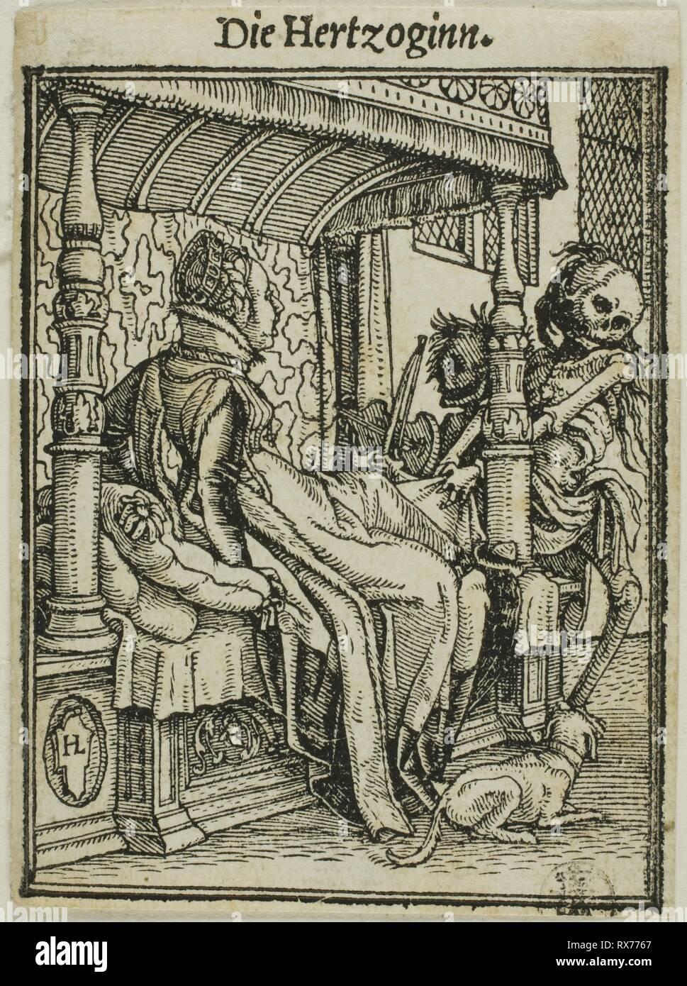 La Duchessa. Hans Holbein il Giovane; Tedesco, 1497-1543. Data: 1517-1527. Dimensioni: 66 x 49 mm. Silografia su carta. Origine: Germania. Museo: Chicago Art Institute. Immagini Stock
