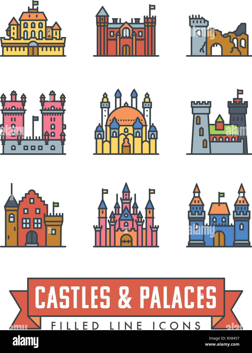 Set di 9 palazzi, castelli e fortezze linea del vettore le icone con il colore di riempimento Immagini Stock