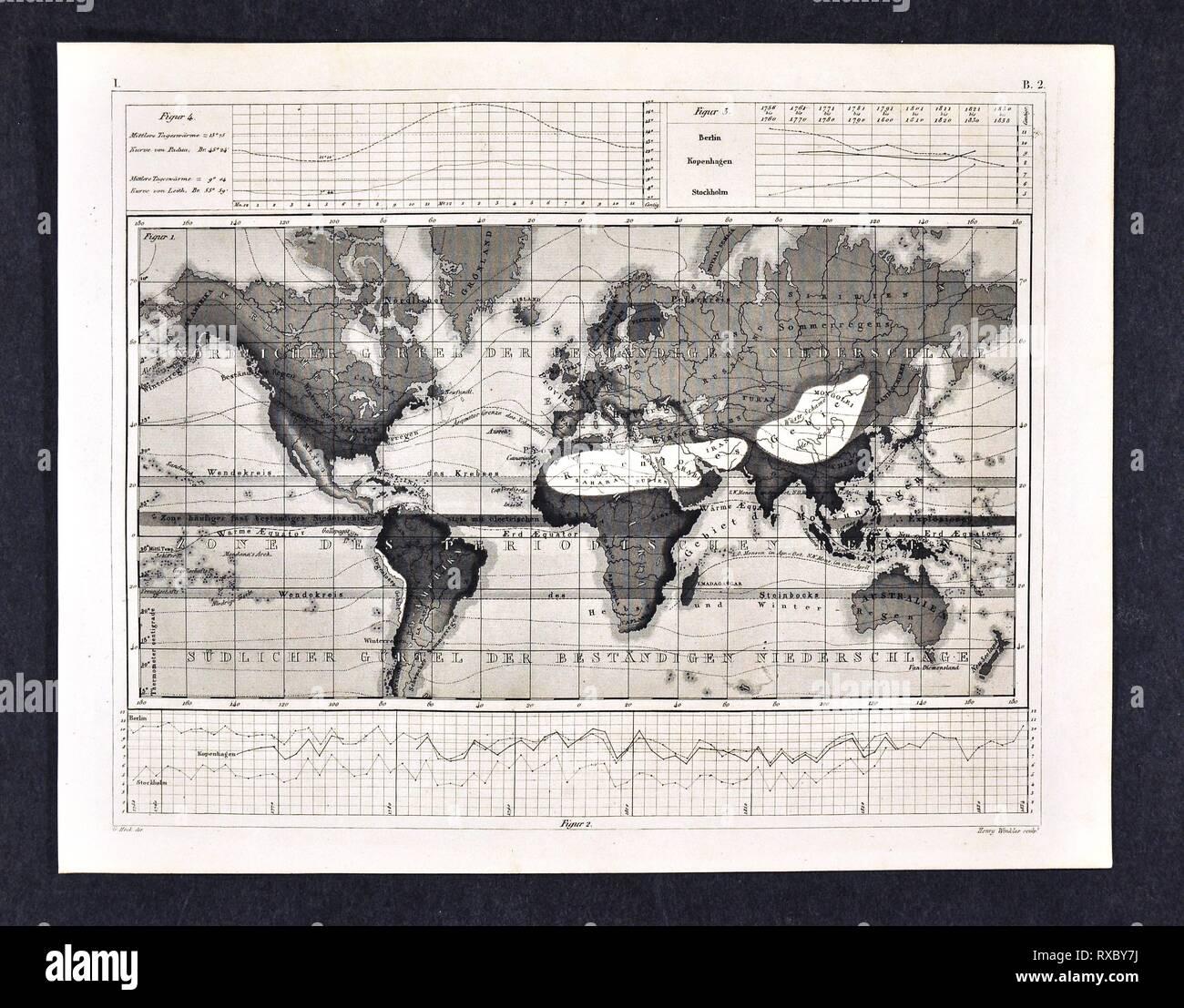 1849 Bilder Atlas mappa Mondo precipitazioni e zone climatiche Immagini Stock