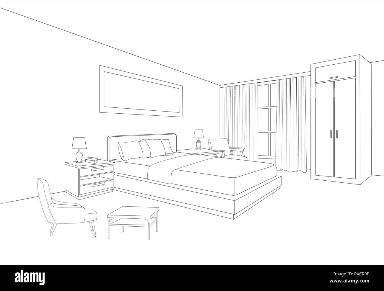 Mobili da camera da letto interni. Linea di camera disegno ...