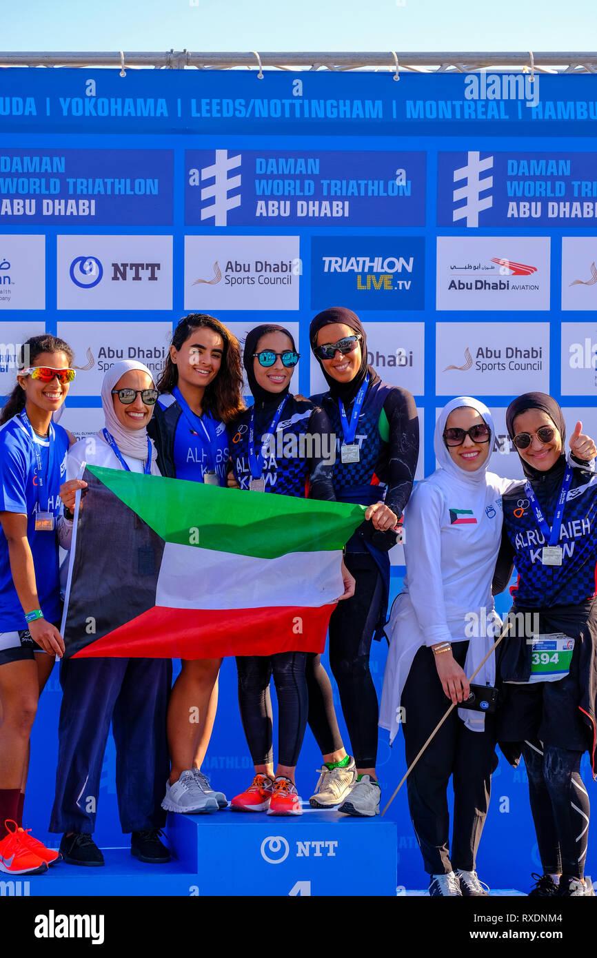 Abu Dhabi, negli Emirati Arabi Uniti. 09 marzo, 2019. - Abu Dhabi, Emirati arabi uniti: ultimo giorno del mondo Daman Triathlon e cerimonia di premiazione di Abu Dhabi. Credito: Fahd Khan/Alamy Live News Immagini Stock