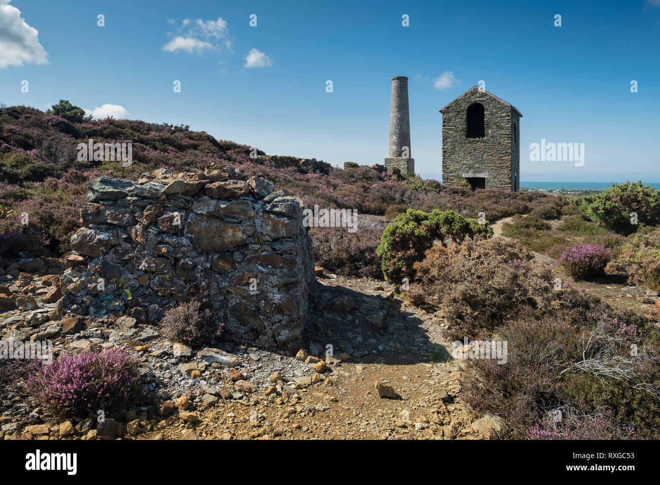 Perla albero motore House & Camino, Parys montagna, Vicino Amlwch, Anglesey, Galles del Nord, Regno Unito Immagini Stock