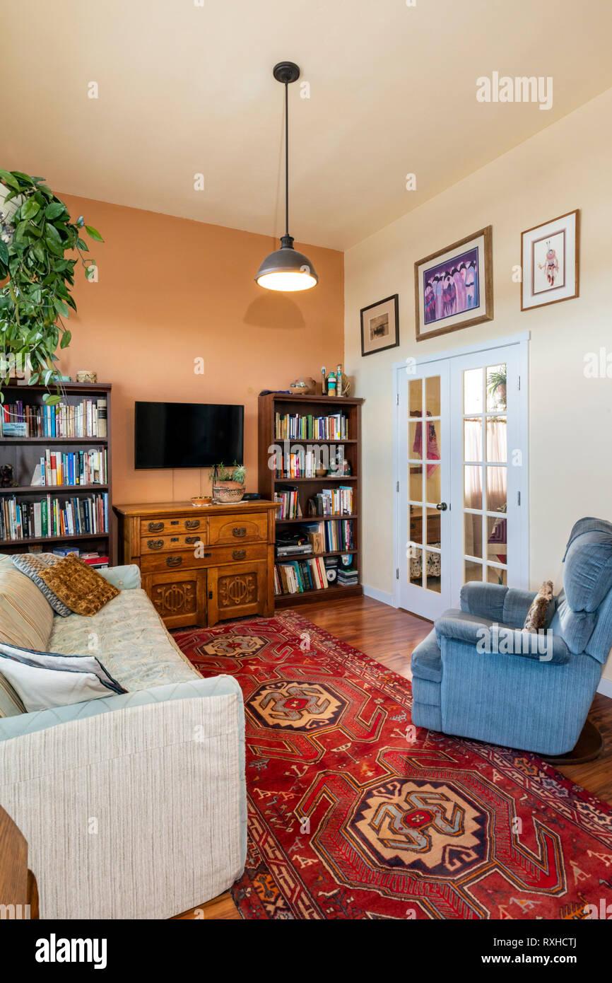 Vista interna del townhouse spazio abitativo; Poncha molle; Colorado; USA Foto Stock