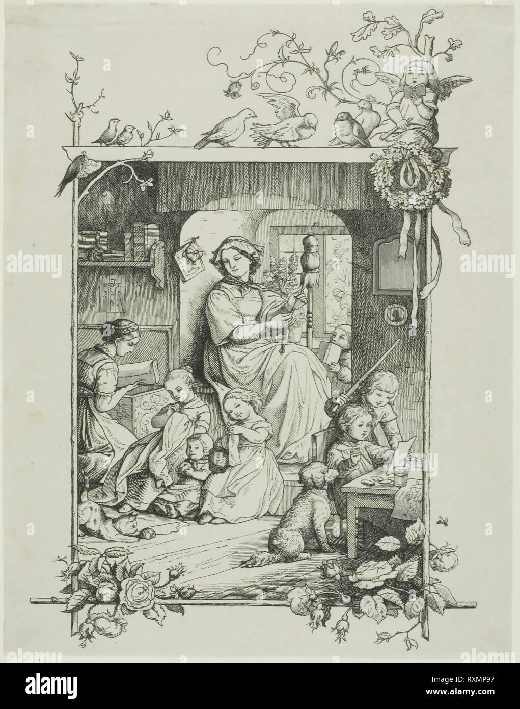 La casalinga. Agosto Gaber (Tedesco, 1823-1891); dopo Adrian Ludwig Richter (Tedesco, 1803-1884); pubblicato da Gaber & Richter (Tedesco, 1856-1860); scritto da Friedrich von Schiller (Tedesco, 1759-1805). Data: 1856-1857. Dimensioni: 202 x 141 mm (nell'immagine); 205 x 160 mm (foglio). Incisione su legno in nero su grigio Cina carta. Origine: Germania. Museo: Chicago Art Institute. Immagini Stock