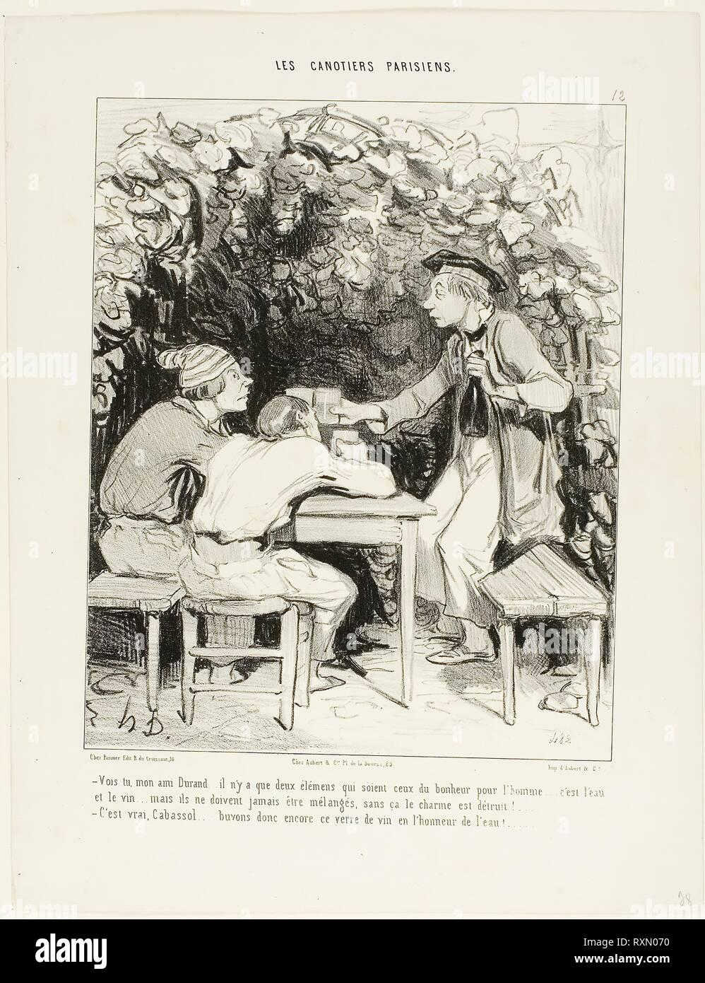 """'- Vedi, il mio amico Durand.... non ci sono solo due componenti importanti della felicità per un uomo: acqua e vino... ma non devono mai essere mescolati, altrimenti non perdono il loro fascino. - Giustamente, Cabassol.... andiamo a bere un bicchiere di vino in onore dell'acqua!"""", piastra 12 da Les Canotiers Parisiens. Honoré Daumier Victorin; francese, 1808-1879. Data: 1843. Dimensioni: 244 × 201 mm (nell'immagine); 342 × 264 mm (foglio). Litografia in nero su carta bianca di qualità della carta. Provenienza: Francia. Museo: Chicago Art Institute. Immagini Stock"""