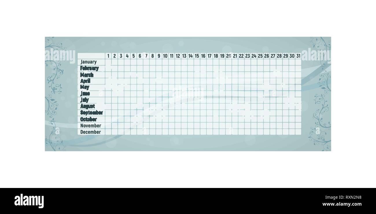 Calendario Del Ciclo Mestruale.Periodo Mestruale Calendario Donna Mensile Di Controllo Del