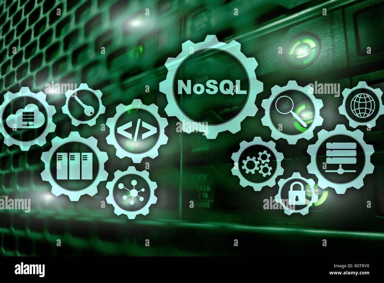 NoSQL. La Structured Query Language. La tecnologia dei database concetto. La sala server sfondo. Immagini Stock