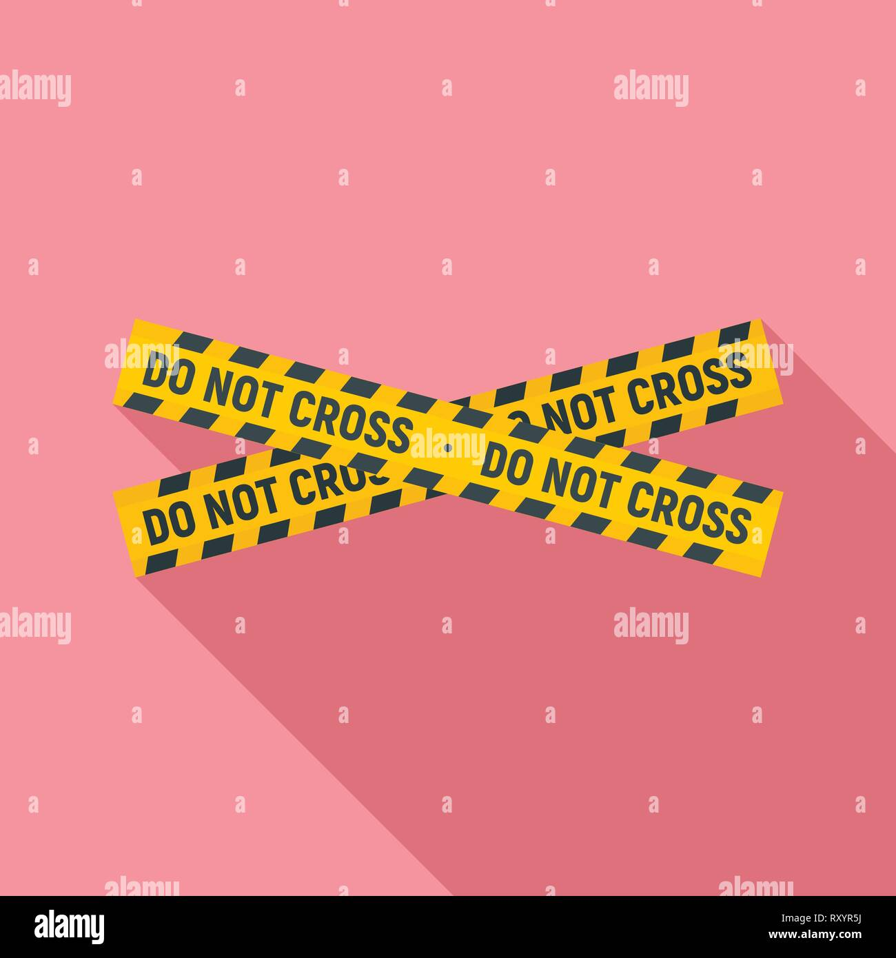 Non attraversare la linea di polizia icona. Illustrazione piana di non attraversare la linea di polizia icona vettore per il web design Immagini Stock
