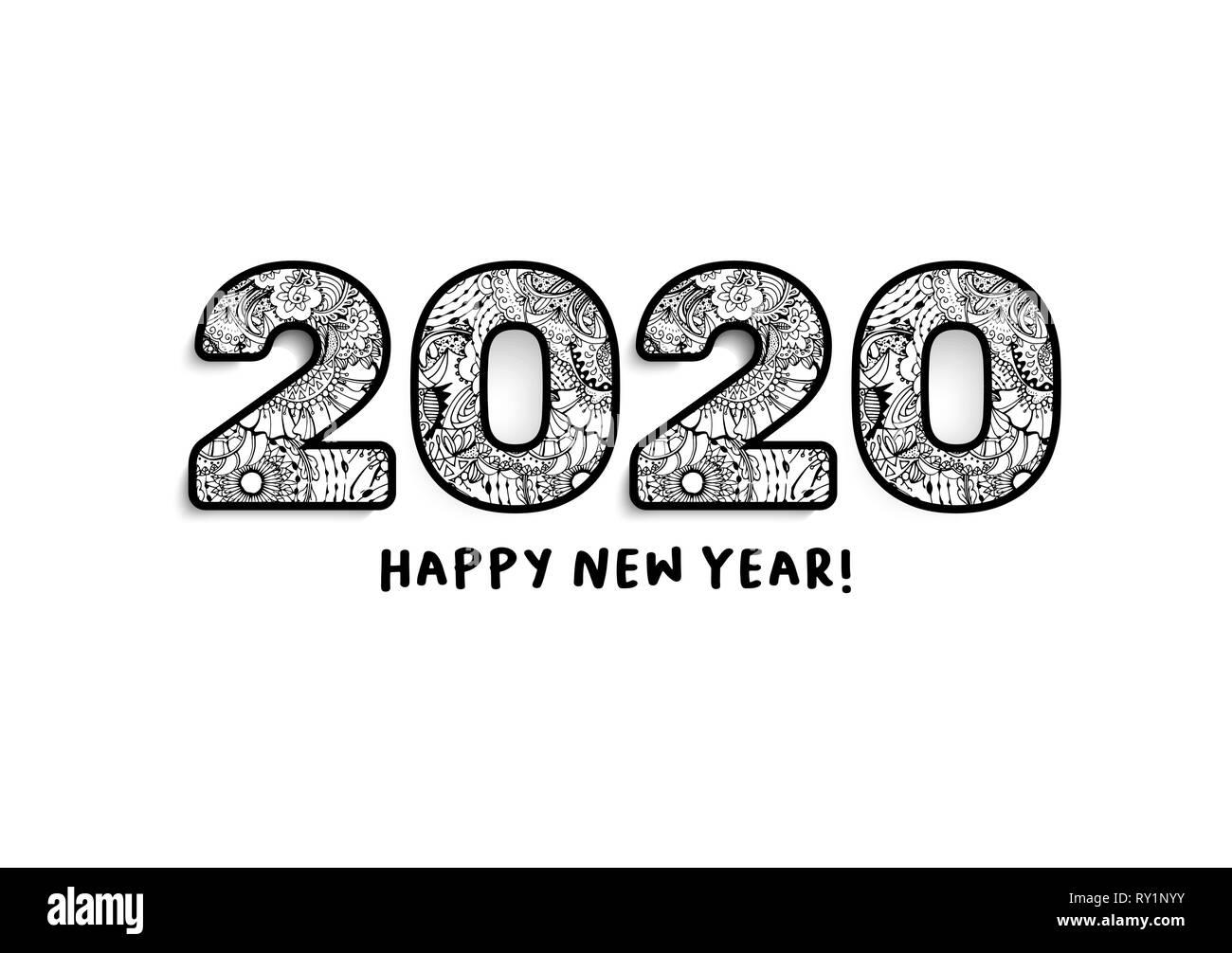 Calendario 2020 Orizzontale.2020 Scritte Felice Anno Nuovo Messaggio Di Saluto Il