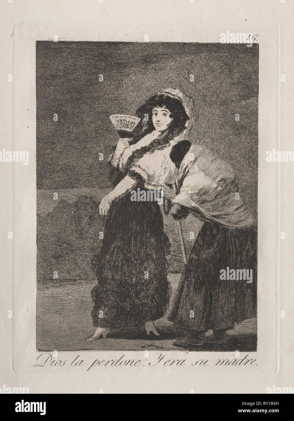 Caprichos: per l'amor del cielo: e fu la madre.. Francisco de Goya (Spagnolo, 1746-1828). Incisione e la puntasecca Immagini Stock