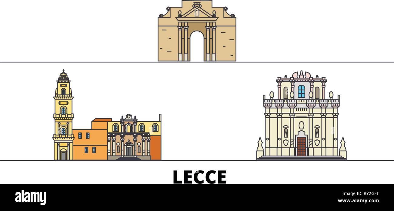 Architetti Famosi Lecce l'italia, lecce flat landmarks illustrazione vettoriale. l