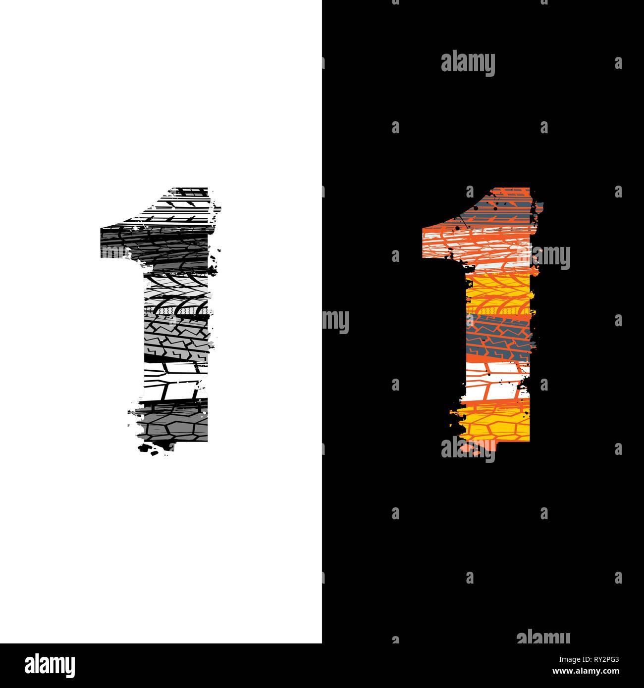 Due gruppi grunge numero 1 con tracce di pneumatici isolate su sfondi differennt Immagini Stock