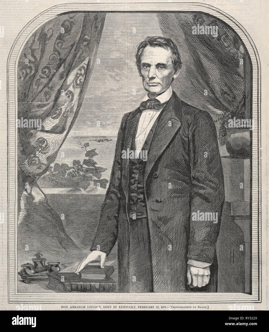 L'on. Abraham Lincoln, nato nel Kentucky, febbraio 12, 1809, 1860. Winslow Homer (American, 1836-1910). Incisione su legno Foto Stock