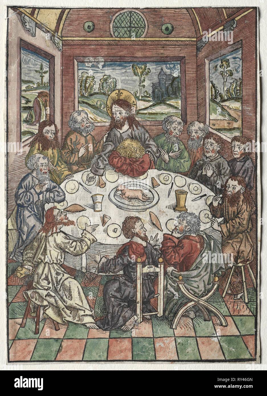 Der Schatzbehalter: L'Ultima Cena, 1491. Michael Wolgemut (Tedesco, 1434-1519). Xilografia a colori Immagini Stock