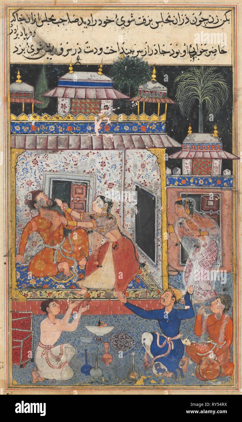 Pagina da racconti di un pappagallo (Tuti-nama): ottava notte: la moglie fallace assalti il suo errare marito, c. 1560. India, Mughal, regno di Akbar, del XVI secolo. Acquerello opaco, inchiostro e oro su carta; complessivo: 20 x 13,6 cm (7 7/8 x 5 3/8 in Immagini Stock