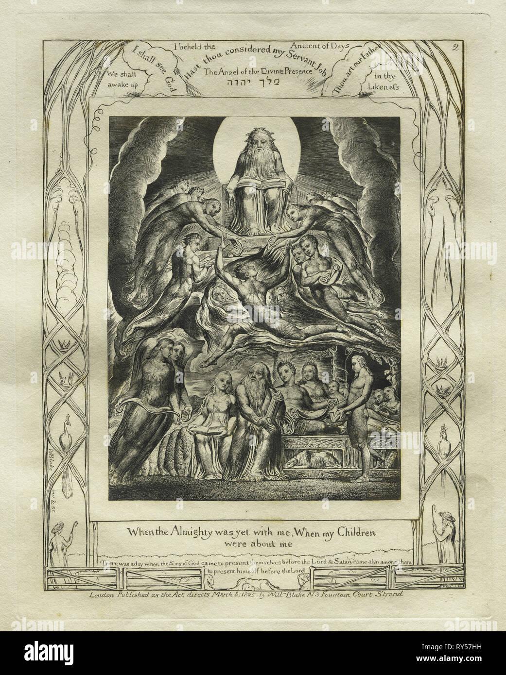 Il Libro di Giobbe: Pl. 2, quando l'Onnipotente era ancora con me e i miei figli / erano circa me, 1825. William Blake (British, 1757-1827). Incisione Immagini Stock