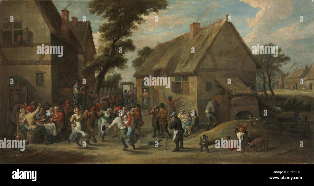 La festa del villaggio, c. 1646-1650. David Teniers (fiammingo, 1610-1690). Olio su tela; incorniciato: 57 x 91 x 9 cm (22 7/16 x 35 13/16 x 3 9/16 in.); senza cornice: 37,7 x 71,3 cm (14 13/16 x 28 1/16 in Immagini Stock