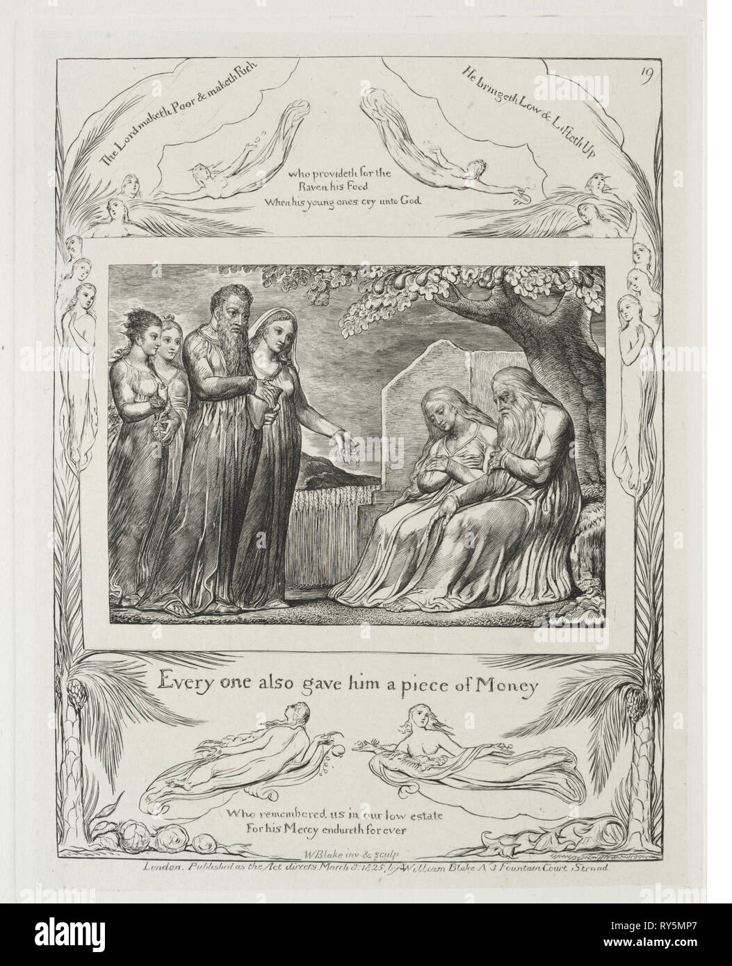 Il Libro di Giobbe: Pl. 19, ognuno di essi gli diede un pezzo di denaro, 1825. William Blake (British, 1757-1827). Incisione Immagini Stock