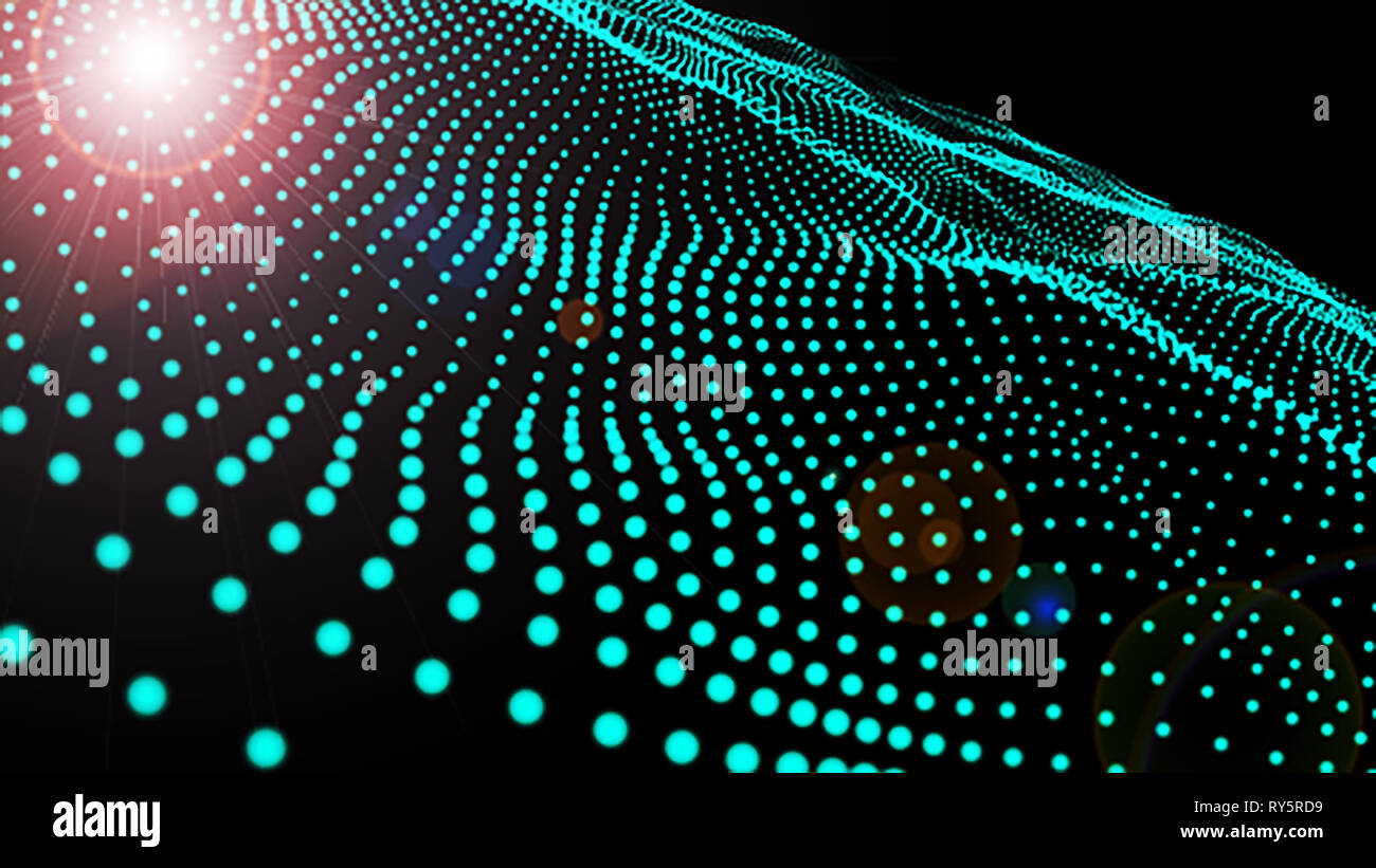Offuscata della scienza 3D di microcosmo o spazio dello sfondo. Il rendering delle particelle incandescenti con la profondità di campo e bokeh di fondo. Forma particelle linea con lente fla Immagini Stock
