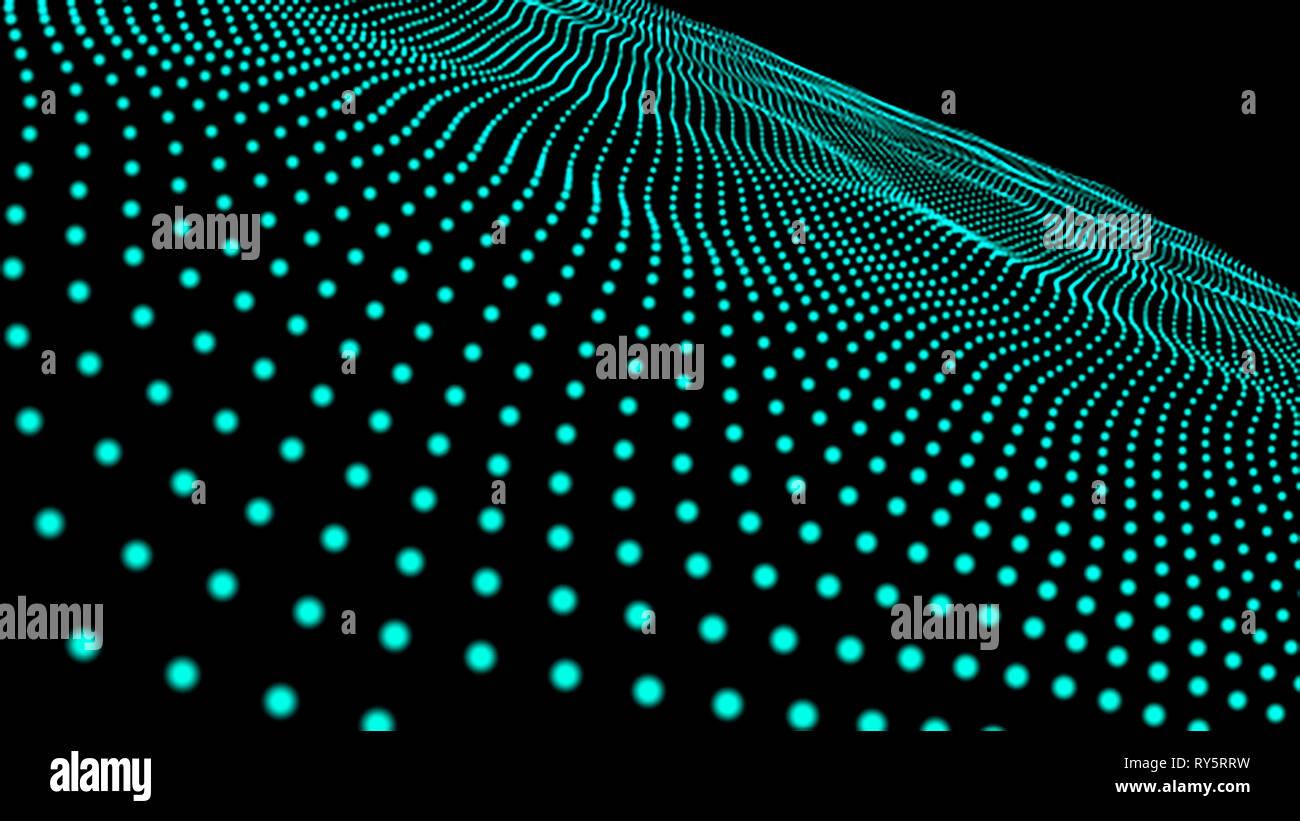 Offuscata della scienza 3D di microcosmo o spazio dello sfondo. Il rendering delle particelle incandescenti con la profondità di campo e bokeh di fondo. Particelle di linea di forma e configurazione S Immagini Stock