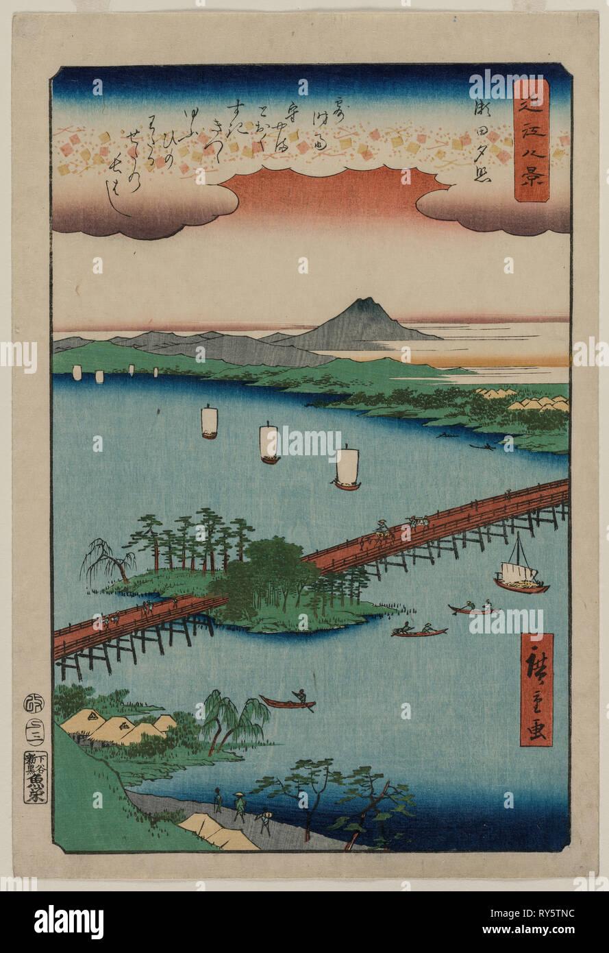 Bagliore di sera in seta, dalla serie di otto vedute di Ōmi, 1857. Utagawa Hiroshige (giapponese, 1797-1858). Color woodblock stampa, inchiostro e colore su carta; foglio: 34,2 x 22,5 cm (13 7/16 x 8 7/8 in Immagini Stock