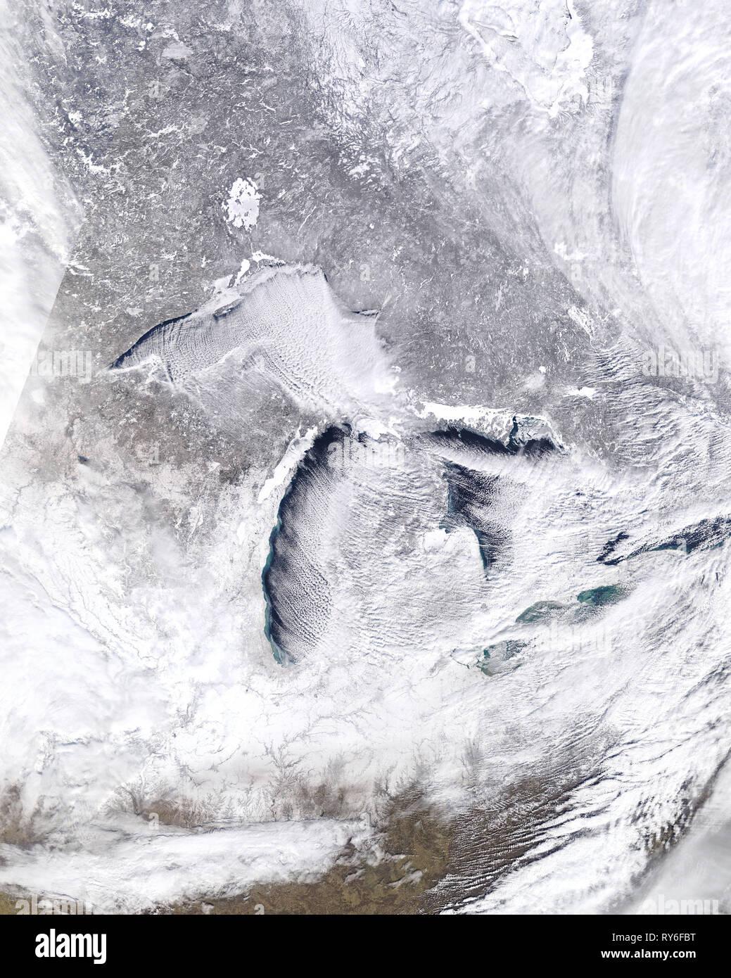 Immagine satellitare della Arctic Blast su gennaio 27, 2019. Risoluzione moderata Imaging Spectroradiometer (dello spettroradiometro MODIS), Terra satellite, la NASA Immagini Stock