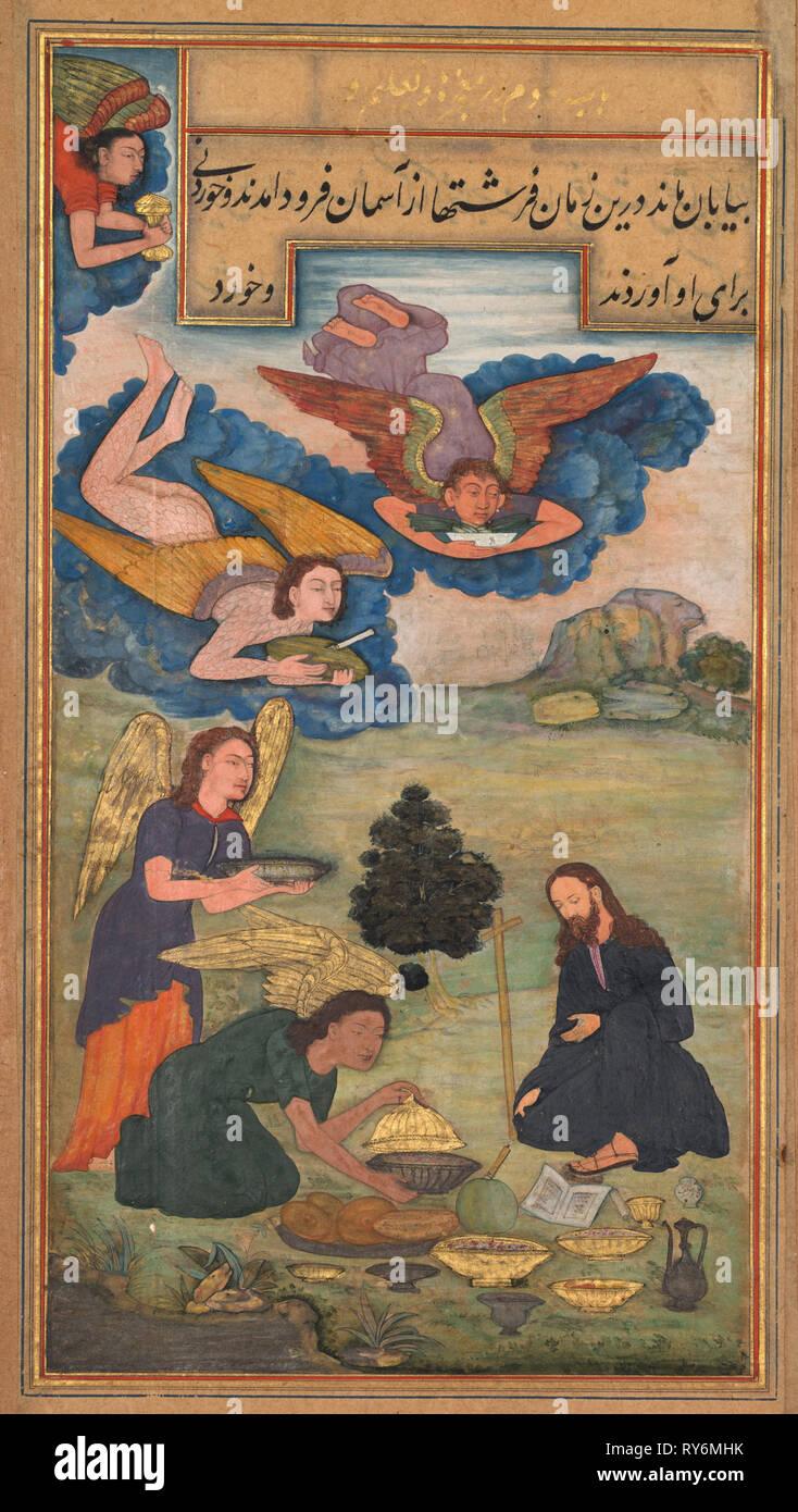 Specchio di santità (Mir'at al-quds) di Padre Girolamo Saverio, 1602-1604. India del nord, Uttar Pradesh, di Allahabad, inizio del XVII secolo. 24 full size illustrazioni con 160 folio di testo: inchiostro, colore e oro su carta; complessivo: 26,1 x 15,4 cm (10 1/4 x 6 1/16 in.); montato: 36,5 x 26,5 cm (14 3/8 x 10 7/16 in Foto Stock