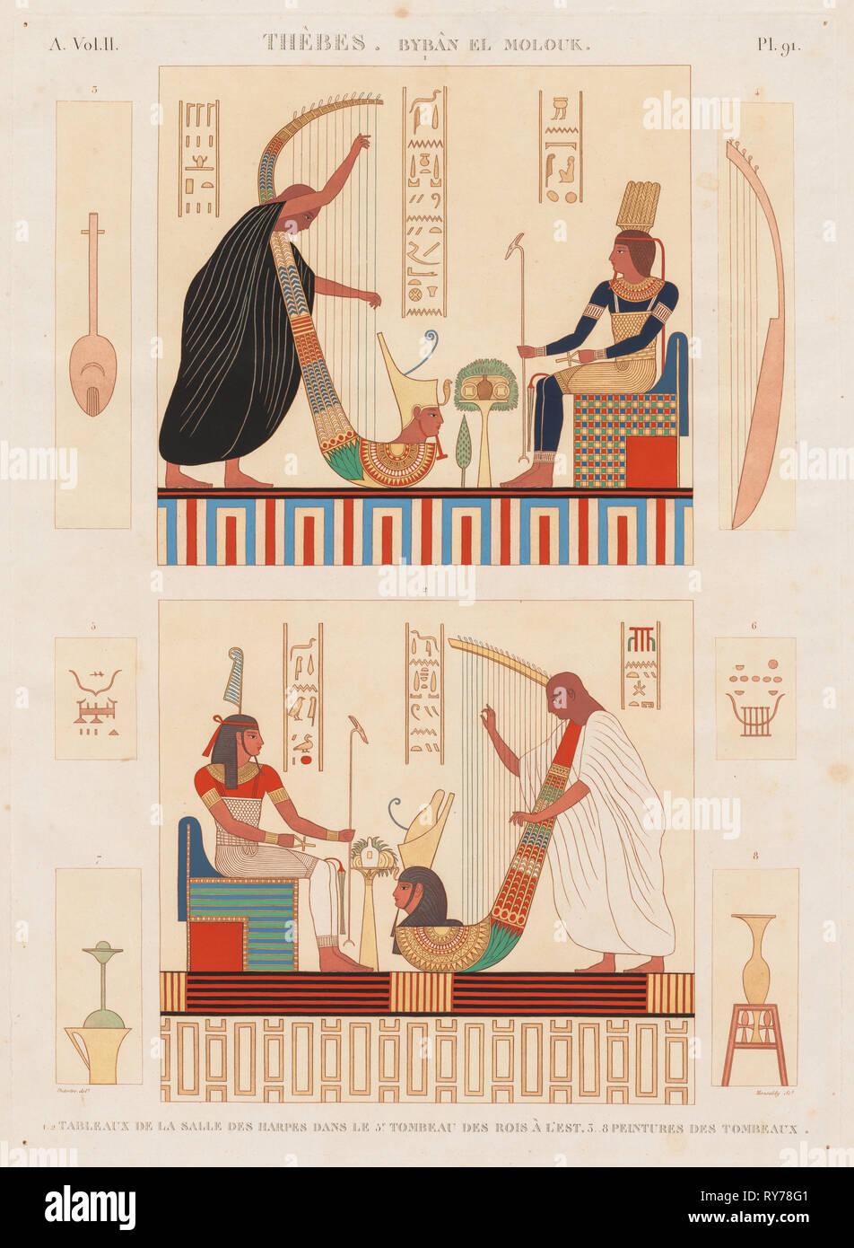 Descrizione dell'Egitto: Tebe Byban el Molouk, Vol. II, Pl. 91, 1812. Antoine Maxime Monsaldy (Francese, 1768-1816), dopo André Dutertre (Francese, 1753-1842). Incisione, stampato in sanguine colorate a mano; foglio: 71 x 53,9 cm (27 15/16 x 21 1/4 in.); platemark: 58,5 x 42,5 cm (23 1/16 x 16 3/4 in Immagini Stock