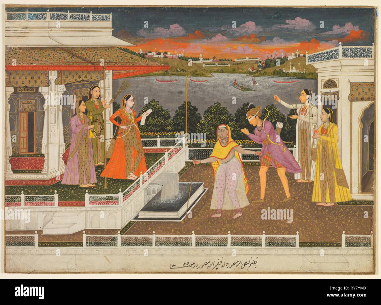 Un corteggiatore bendati viene portato prima di una principessa; tergo: scorrimento vitigni floreali, 1755. Fayzullah (indiano, attivo c. 1730-1765). Acquerello opaco con oro su carta (recto); acquerello opaco con oro su carta (tergo Foto Stock