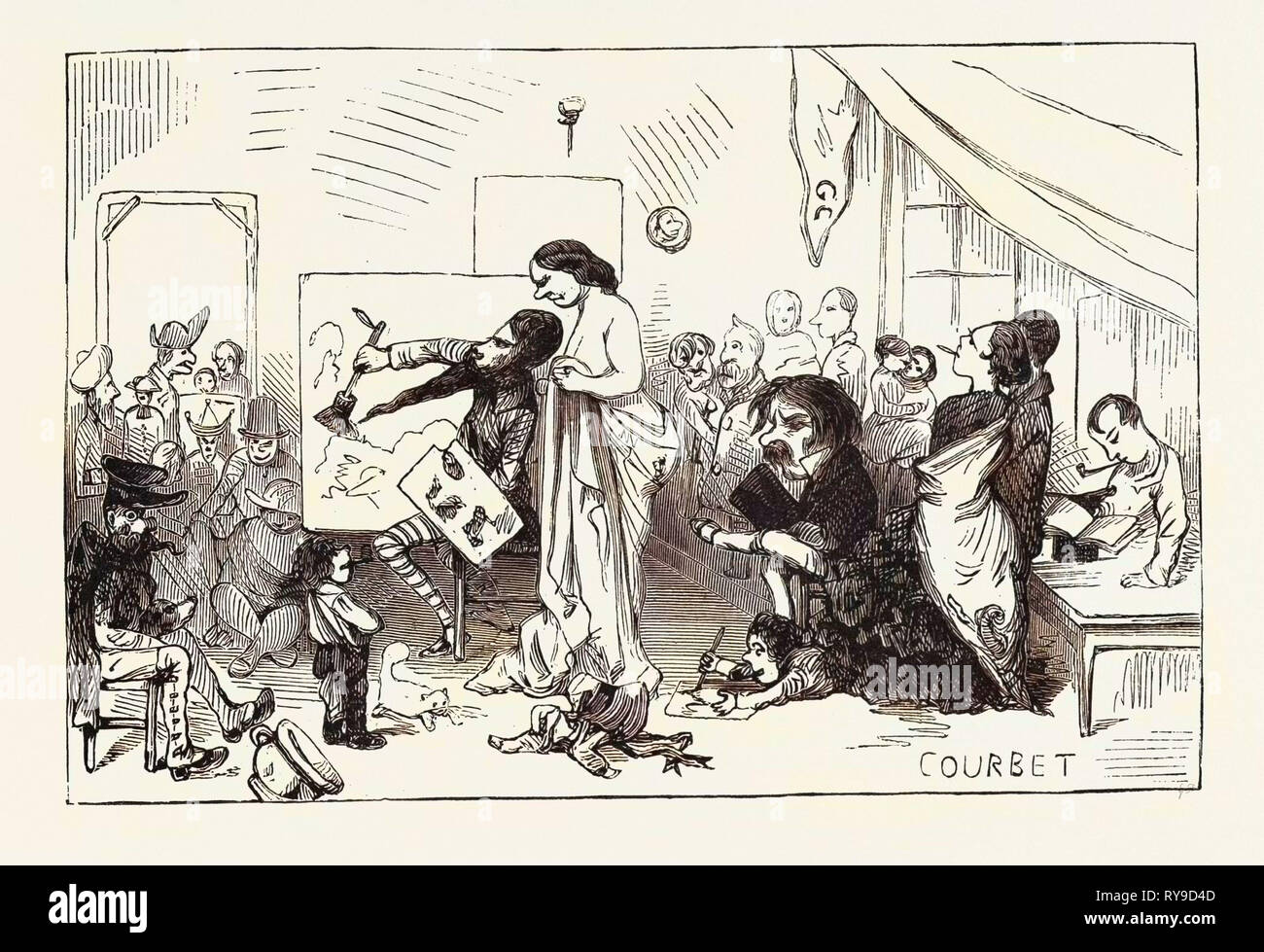 M. Courbet in tutta la gloria della sua propria individualità, allegoria reale, una fase decisiva della sua vita artistica. incisione 1855 Immagini Stock