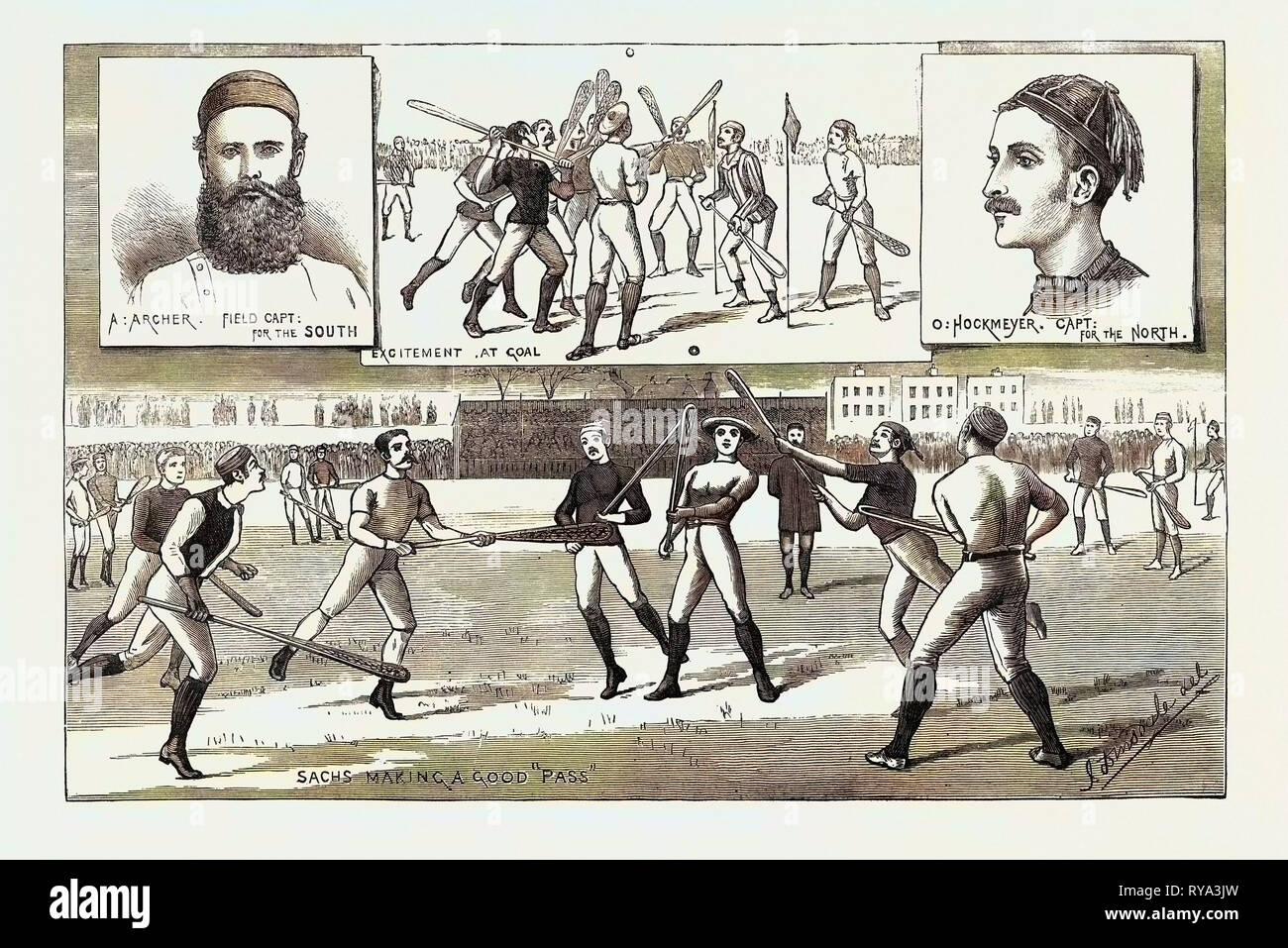 La Crosse match disputato lo scorso sabato a Kennington Oval, dall'Inghilterra del Nord contro Sud, 1883 Immagini Stock