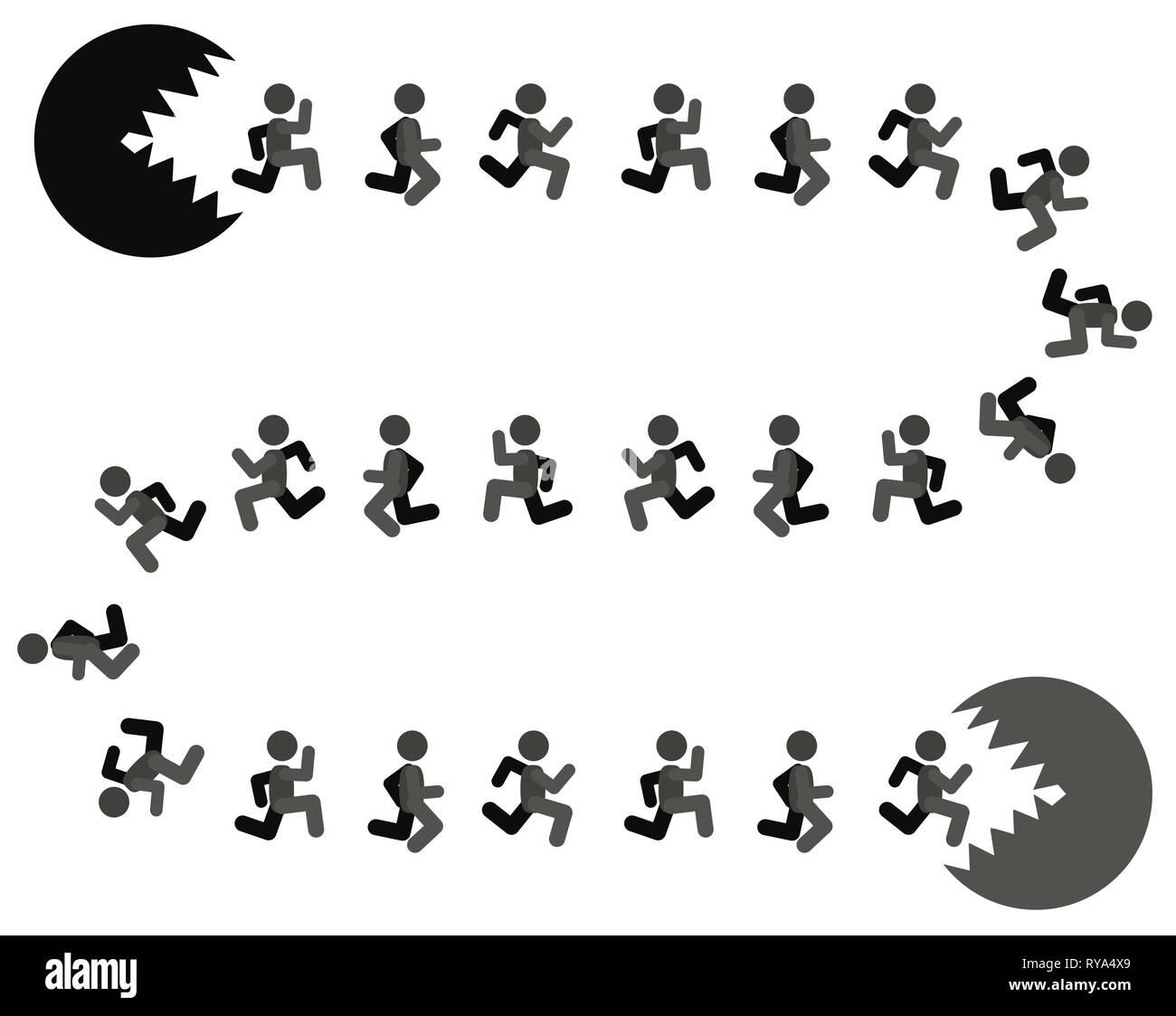 Pericolo di fuga futile persone figure metafora, illustrazione vettoriale di cartoni animati a colori, orizzontale Immagini Stock