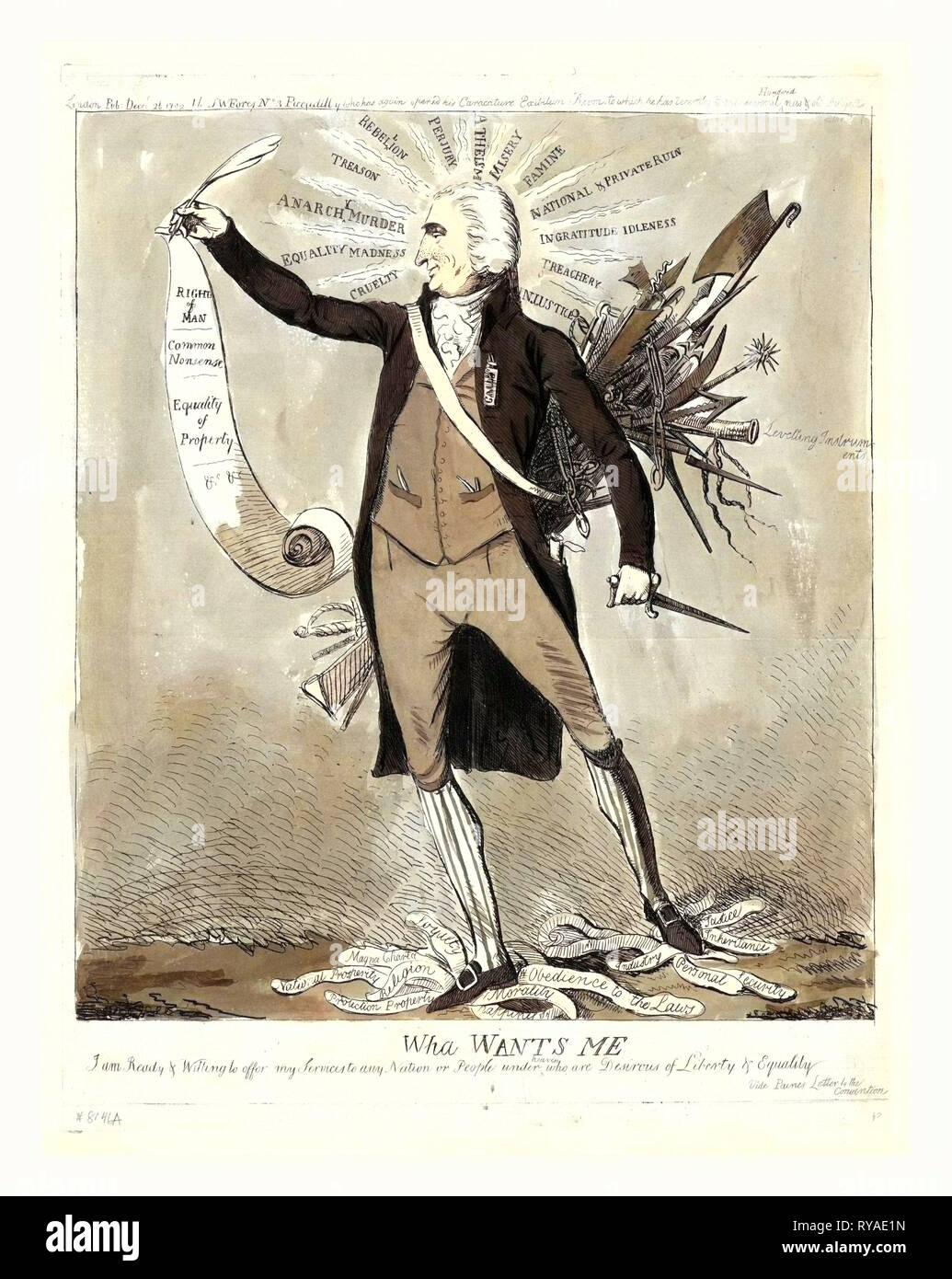 Wha mi vuole, Londra : 1792, incisione, Thomas Paine, completi, in piedi, rivolto verso sinistra, tenendo scorrere i diritti dell'uomo, circondato da ingiustizie e i piedi su etichette, che rappresentano i costumi e i giudici, difendendo le misure adottate in Francia rivoluzionaria e attraente per la lingua inglese per rovesciare la monarchia loro e organizzare una repubblica Immagini Stock