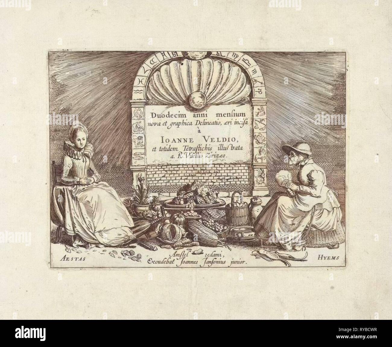 Personificazioni di estate e inverno in un arco con costellazioni, Jan van de Velde II, 1608-1618 Immagini Stock