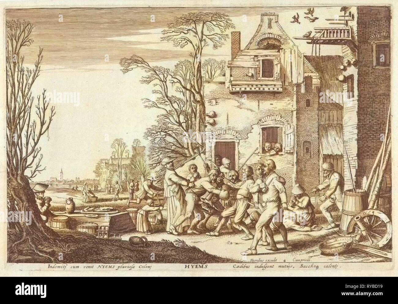 Inverno (Hyems), Jan van de Velde (II), Hendrick Hondius (MI), sconosciuto, 1617 Immagini Stock